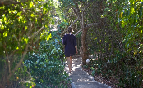 A woman walking through the mangrove forest of Lazy Lagoon Island.